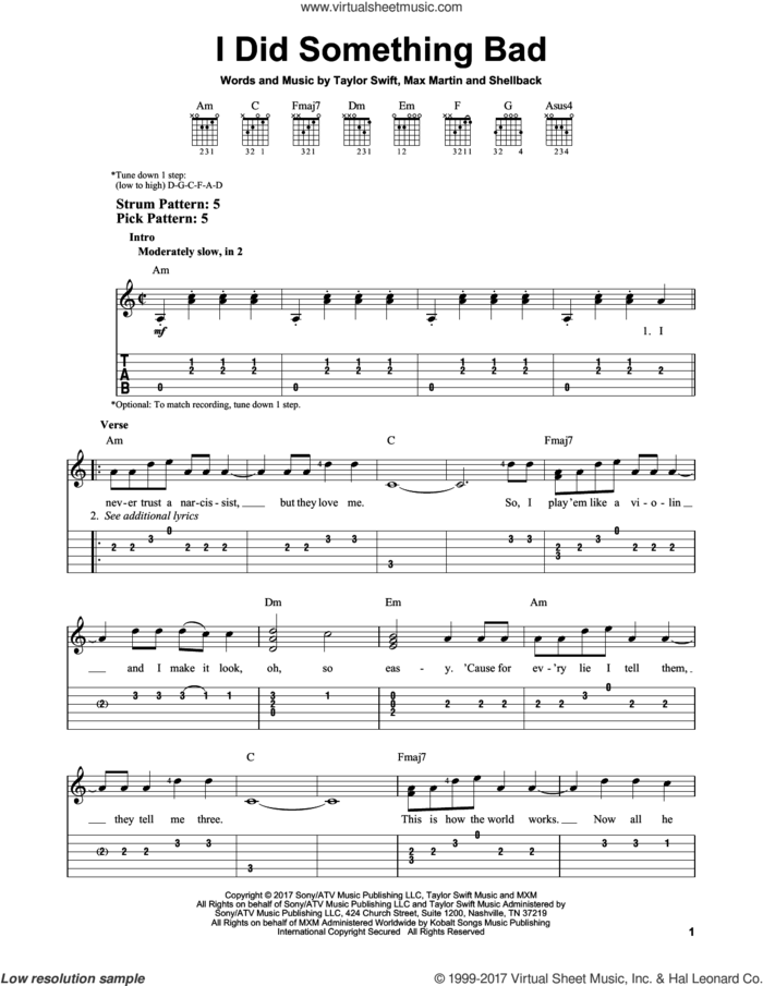 I Did Something Bad sheet music for guitar solo (easy tablature) by Taylor Swift, Max Martin and Shellback, easy guitar (easy tablature)