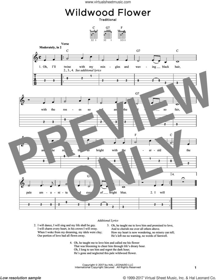 Wildwood Flower sheet music for guitar solo, intermediate skill level