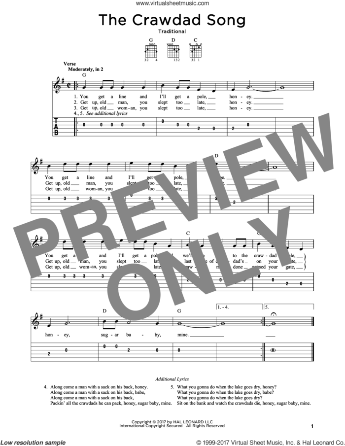 The Crawdad Song sheet music for guitar solo, intermediate skill level