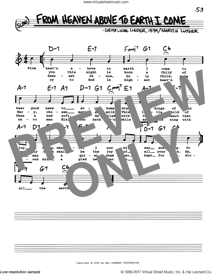 From Heaven Above To Earth I Come sheet music for voice and other instruments (real book with lyrics) by Martin Luther and Geistliche Lieder, intermediate skill level