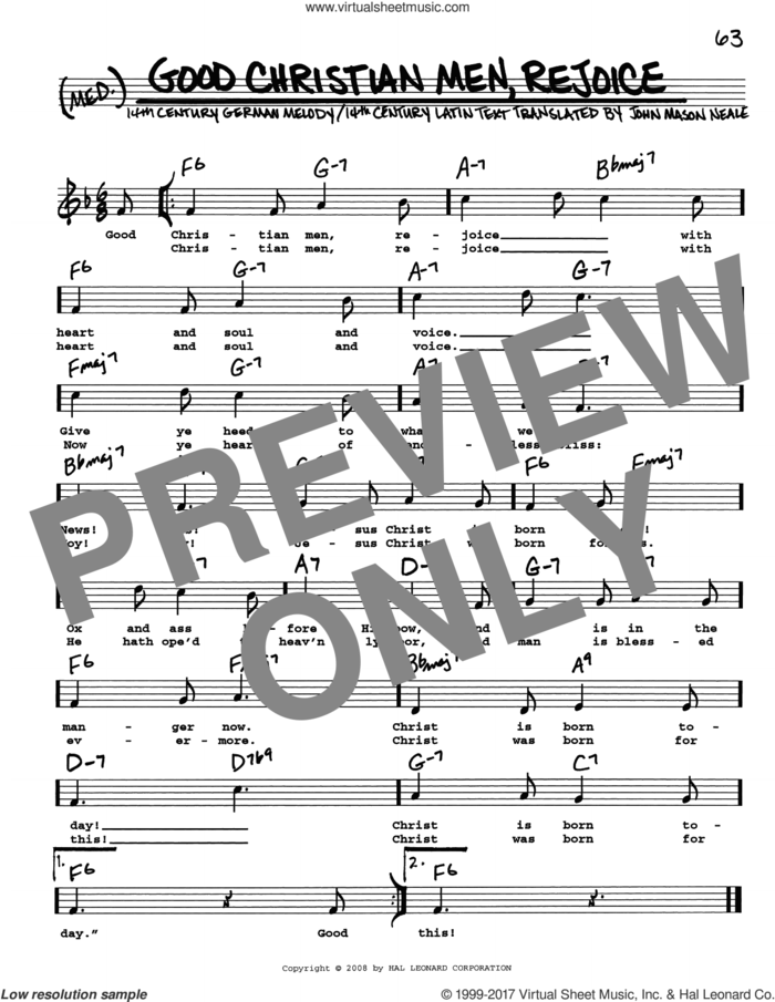 Good Christian Men, Rejoice sheet music for voice and other instruments (real book with lyrics) by John Mason Neale and Miscellaneous, intermediate skill level