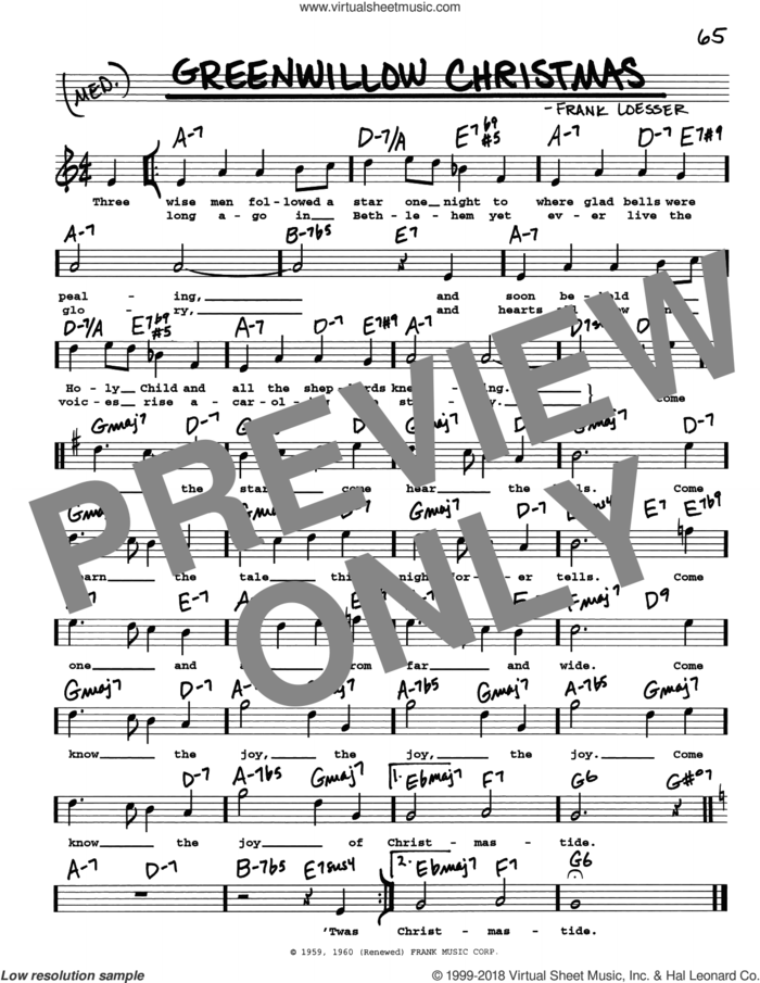 Greenwillow Christmas sheet music for voice and other instruments (real book with lyrics) by Frank Loesser, intermediate skill level