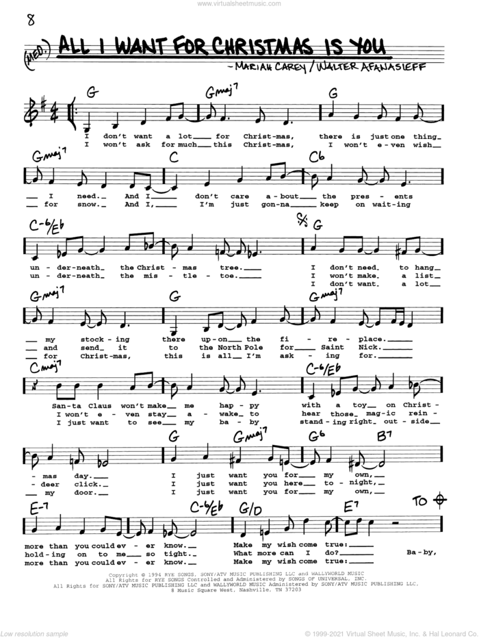 All I Want For Christmas Is You sheet music for voice and other instruments (real book with lyrics) by Mariah Carey and Walter Afanasieff, intermediate skill level