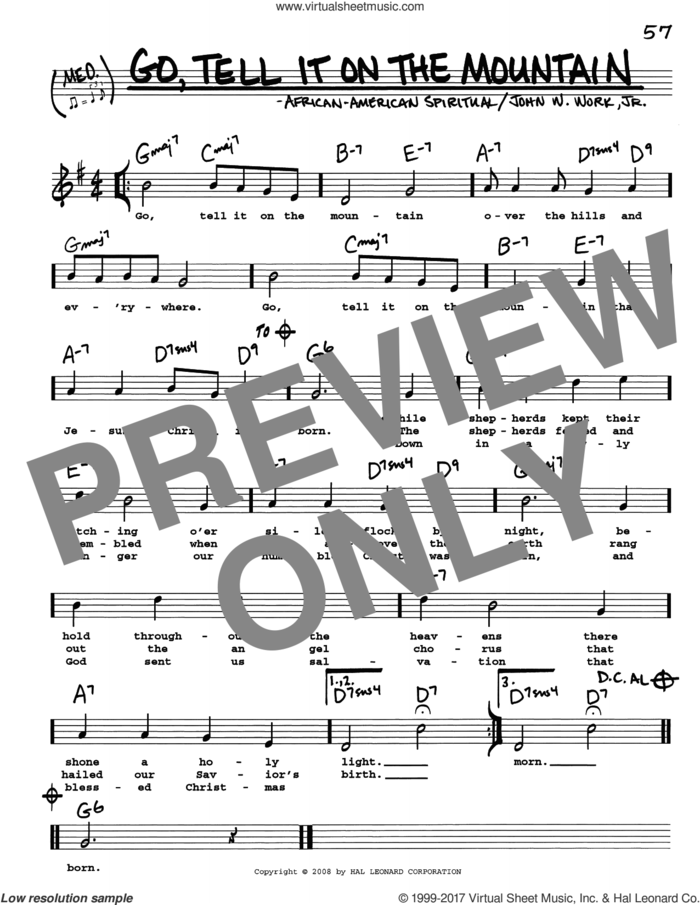 Go, Tell It On The Mountain sheet music for voice and other instruments (real book with lyrics) by John W. Work, Jr. and Miscellaneous, intermediate skill level