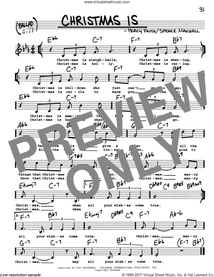 Christmas Is sheet music for voice and other instruments (real book with lyrics) by Spence Maxwell and Percy Faith, intermediate skill level