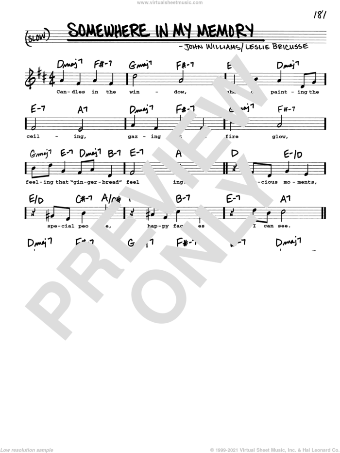 Somewhere In My Memory sheet music for voice and other instruments (real book with lyrics) by John Williams, intermediate skill level
