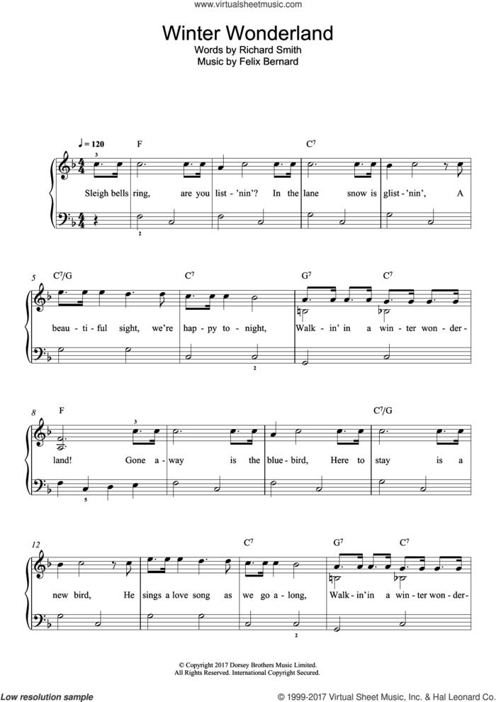 Winter Wonderland sheet music for piano solo (beginners) by Felix Bernard, beginner piano (beginners)