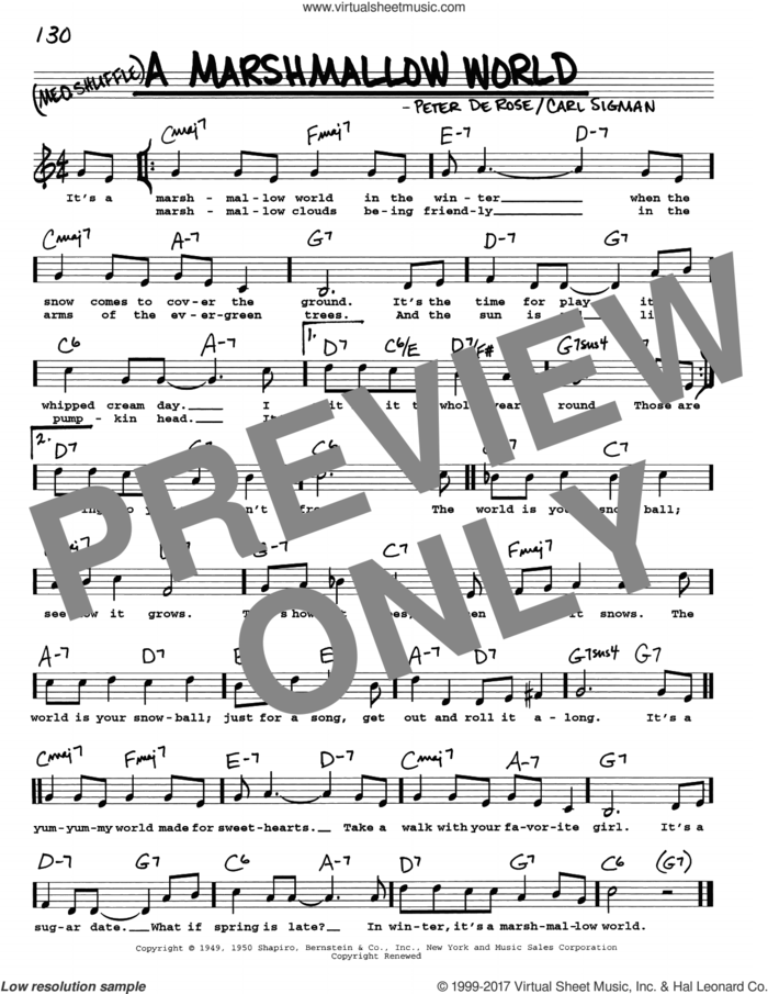 A Marshmallow World sheet music for voice and other instruments (real book with lyrics) by Carl Sigman and Peter DeRose, intermediate skill level