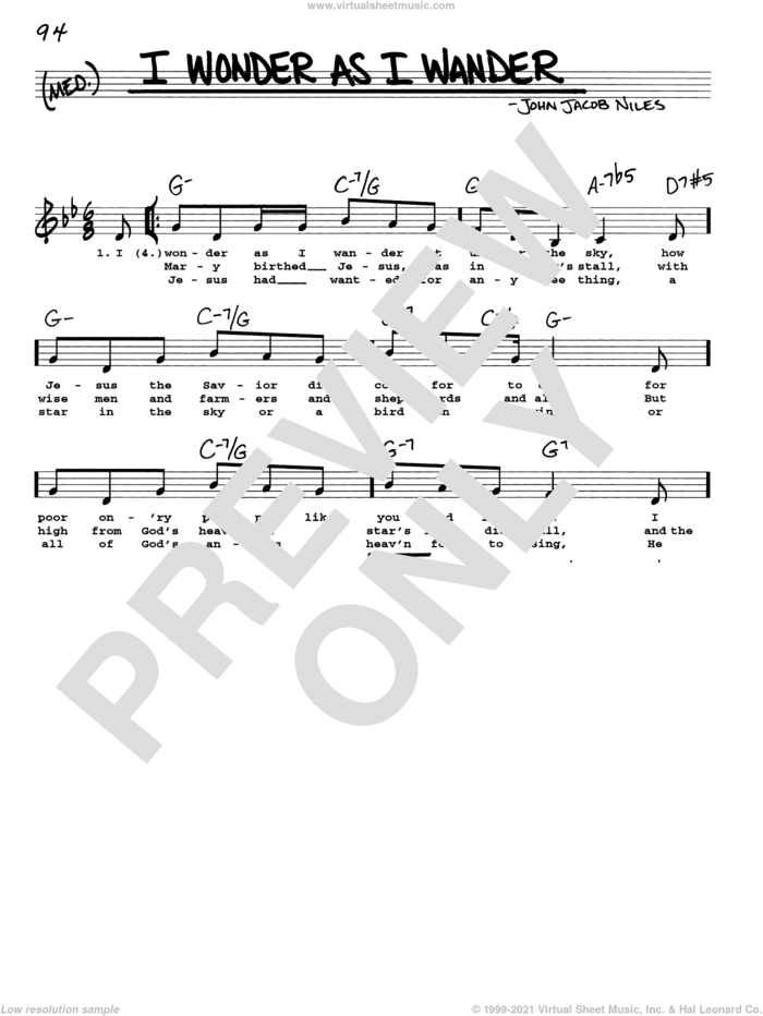 I Wonder As I Wander sheet music for voice and other instruments (real book with lyrics) by John Jacob Niles, intermediate skill level