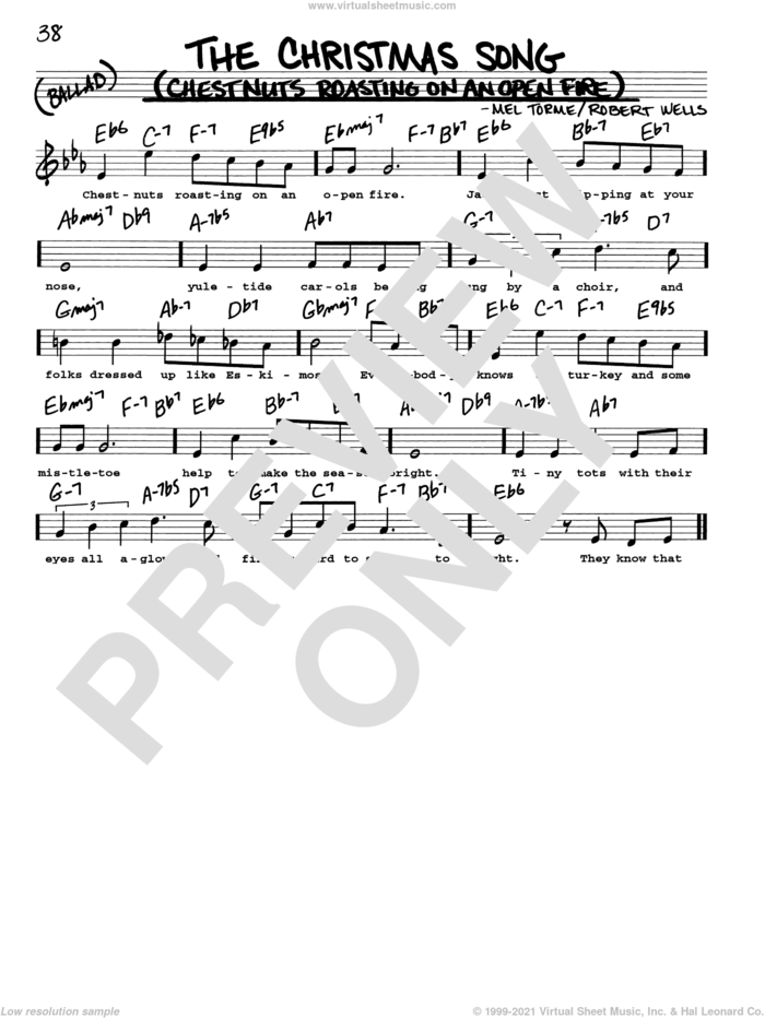 The Christmas Song (Chestnuts Roasting On An Open Fire) sheet music for voice and other instruments (real book with lyrics) by Mel Torme, Mel Torme and Robert Wells, intermediate skill level
