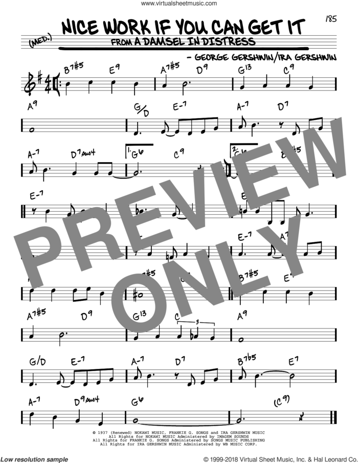 Nice Work If You Can Get It sheet music for voice and other instruments (real book) by Frank Sinatra, George Gershwin and Ira Gershwin, intermediate skill level
