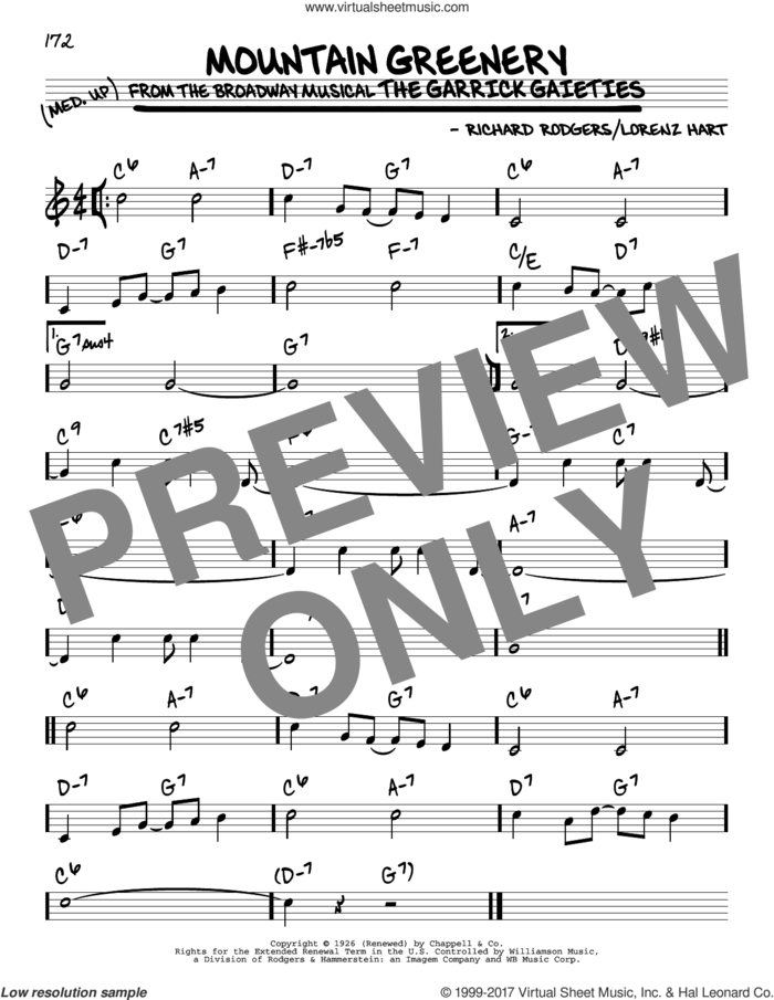 Mountain Greenery sheet music for voice and other instruments (real book) by Rodgers & Hart, Lorenz Hart and Richard Rodgers, intermediate skill level