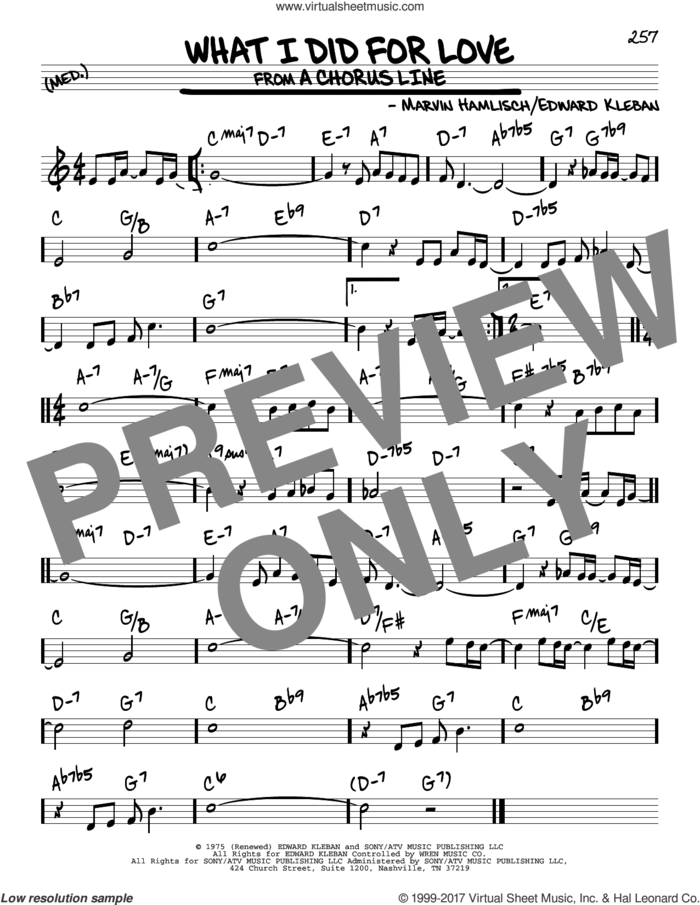 What I Did For Love sheet music for voice and other instruments (real book) by Marvin Hamlisch and Edward Kleban, intermediate skill level