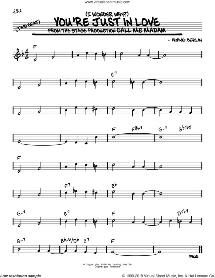(I Wonder Why?) You're Just In Love sheet music for voice and other instruments (real book) by Irving Berlin, intermediate skill level