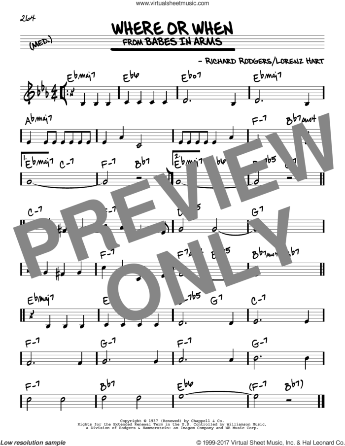 Where Or When sheet music for voice and other instruments (real book) by Rodgers & Hart, Lorenz Hart and Richard Rodgers, intermediate skill level