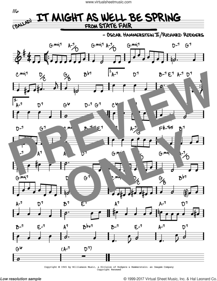 It Might As Well Be Spring sheet music for voice and other instruments (real book) by Rodgers & Hammerstein, Oscar II Hammerstein and Richard Rodgers, intermediate skill level