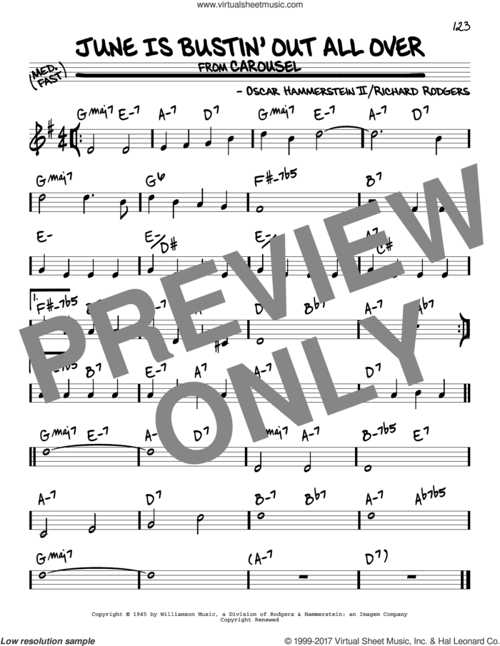 June Is Bustin' Out All Over sheet music for voice and other instruments (real book) by Rodgers & Hammerstein, Oscar II Hammerstein and Richard Rodgers, intermediate skill level