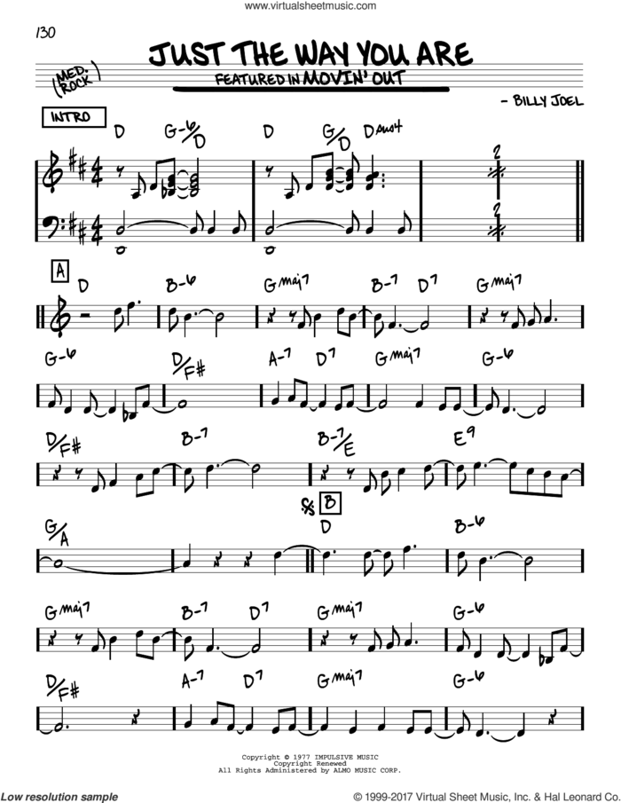 Just The Way You Are sheet music for voice and other instruments (real book) by Billy Joel, intermediate skill level