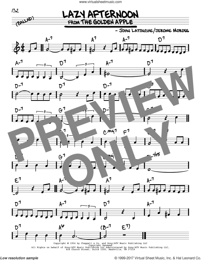 Lazy Afternoon sheet music for voice and other instruments (real book) by John Latouche and Jerome Moross, intermediate skill level