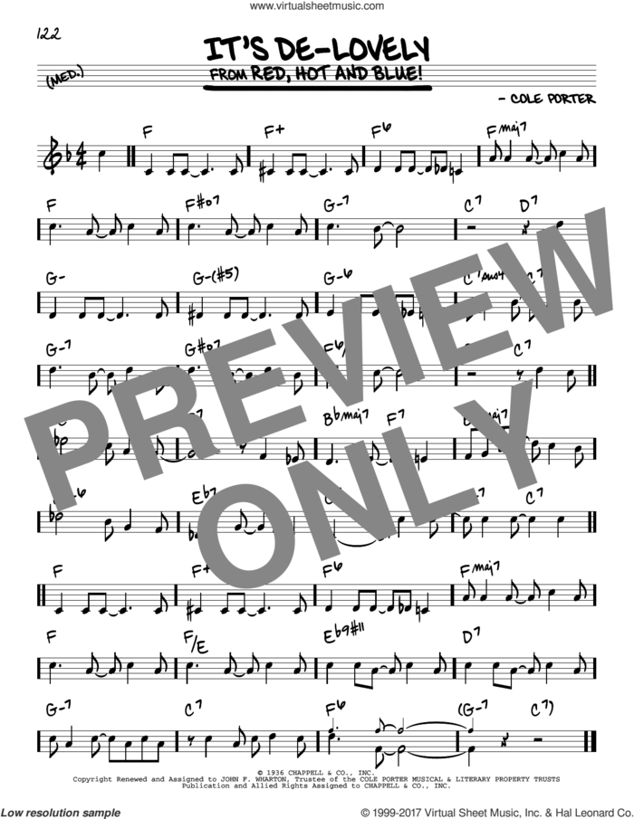 It's De-Lovely sheet music for voice and other instruments (real book) by Cole Porter, intermediate skill level