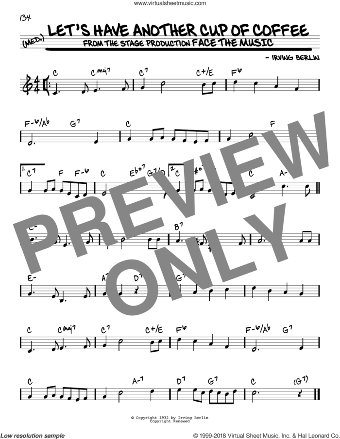 Let's Have Another Cup Of Coffee sheet music for voice and other instruments (real book) by Irving Berlin, intermediate skill level