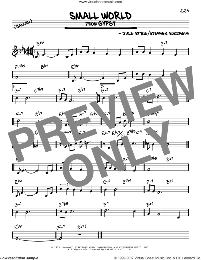 Small World sheet music for voice and other instruments (real book) by Stephen Sondheim and Jule Styne, intermediate skill level