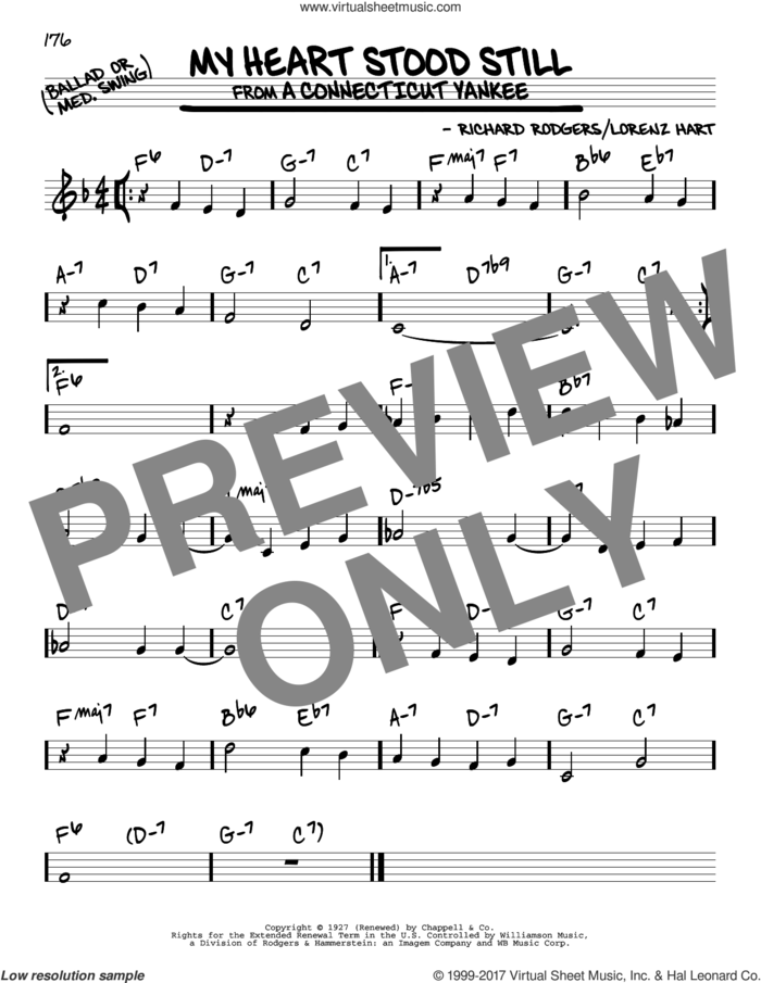 My Heart Stood Still sheet music for voice and other instruments (real book) by Richard Rodgers, Artie Shaw, Stan Getz and Lorenz Hart, intermediate skill level