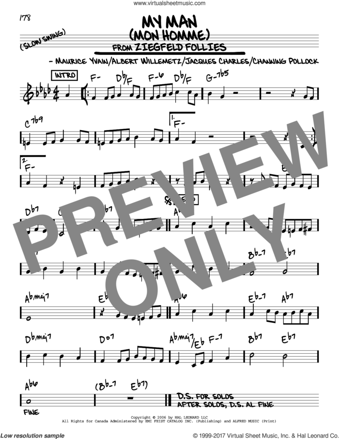 My Man (Mon Homme) sheet music for voice and other instruments (real book) by Albert Willemetz, Channing Pollock, Jacques Charles and Maurice Yvain, intermediate skill level