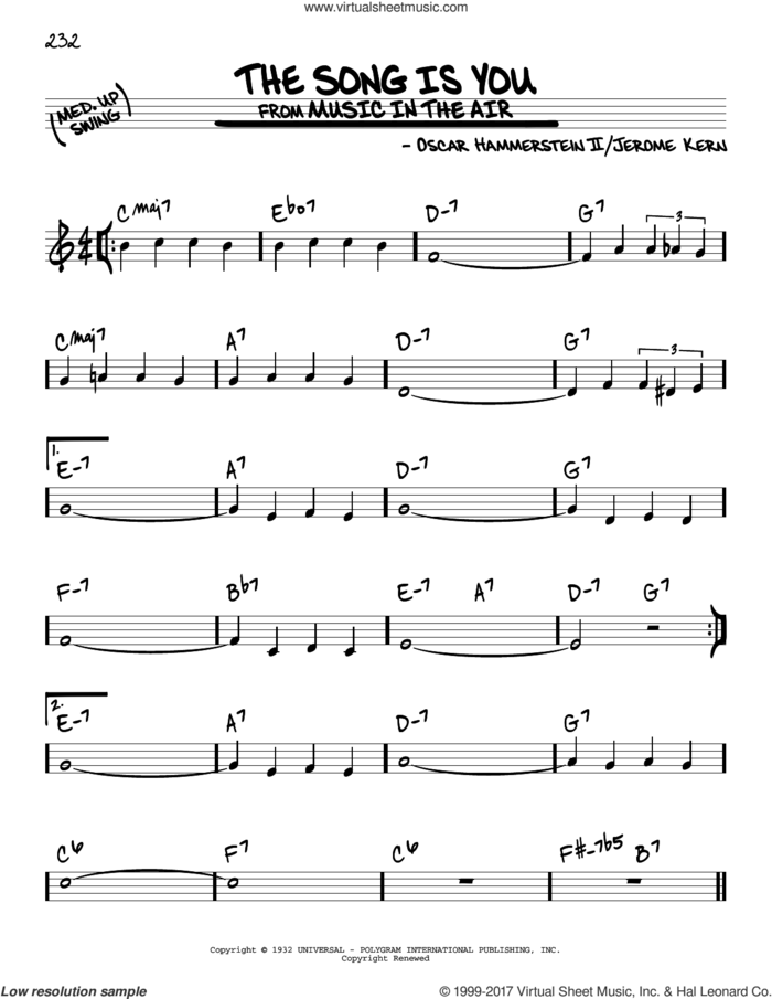 The Song Is You sheet music for voice and other instruments (real book) by Oscar II Hammerstein and Jerome Kern, intermediate skill level