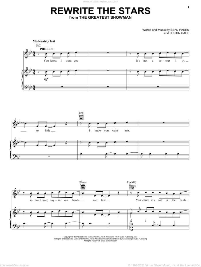 Rewrite The Stars (from The Greatest Showman) sheet music for voice, piano or guitar by Pasek & Paul, Benj Pasek and Justin Paul, intermediate skill level