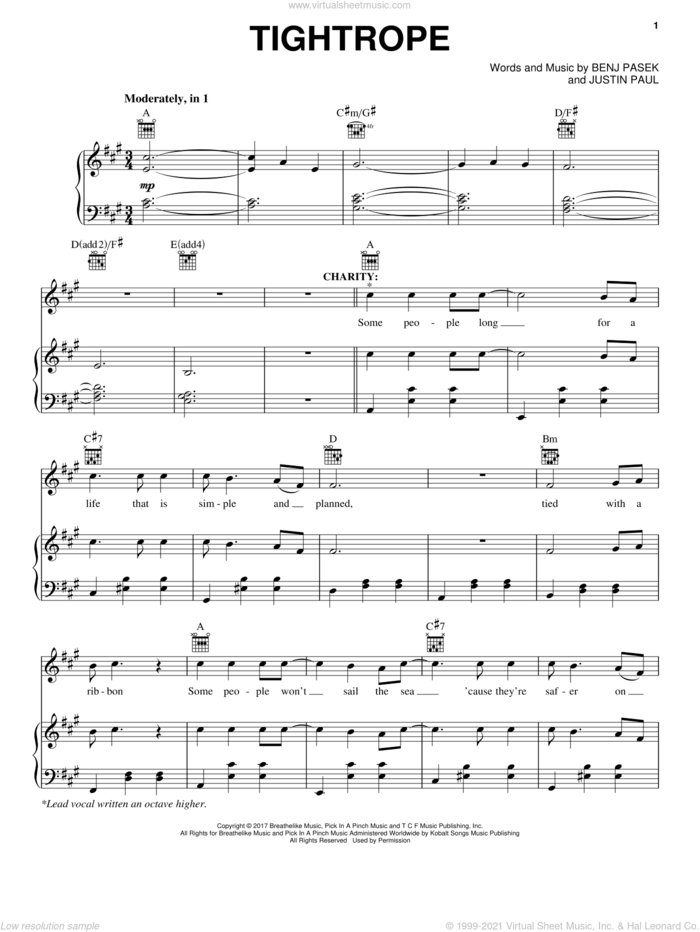 Tightrope (from The Greatest Showman) sheet music for voice, piano or guitar by Pasek & Paul, Benj Pasek and Justin Paul, intermediate skill level