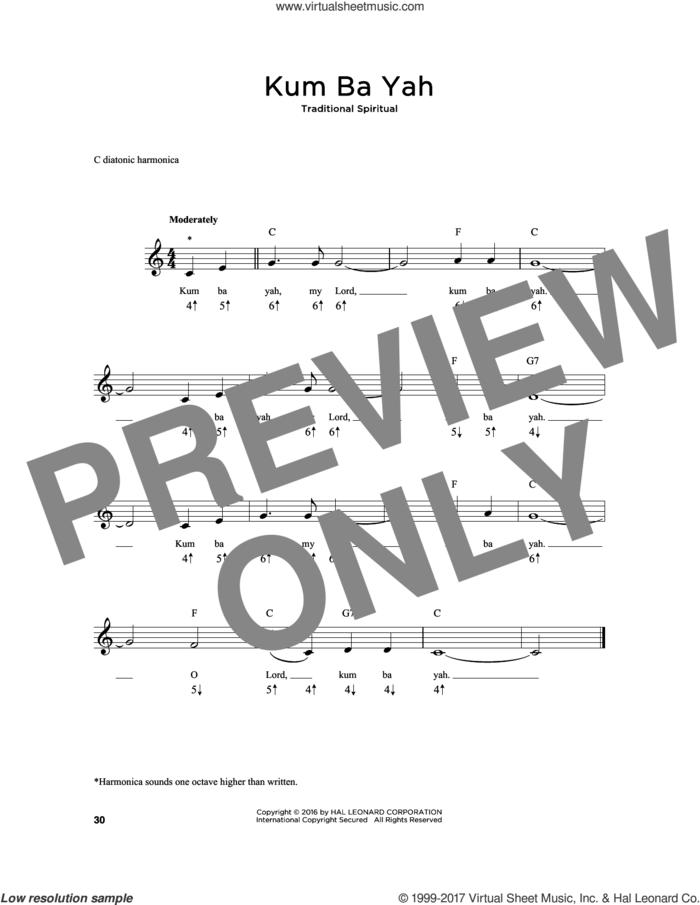 Kum Ba Yah sheet music for harmonica solo, intermediate skill level