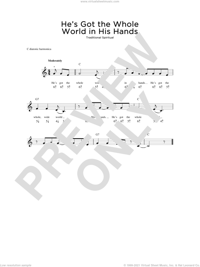 He's Got The Whole World In His Hands sheet music for harmonica solo, intermediate skill level