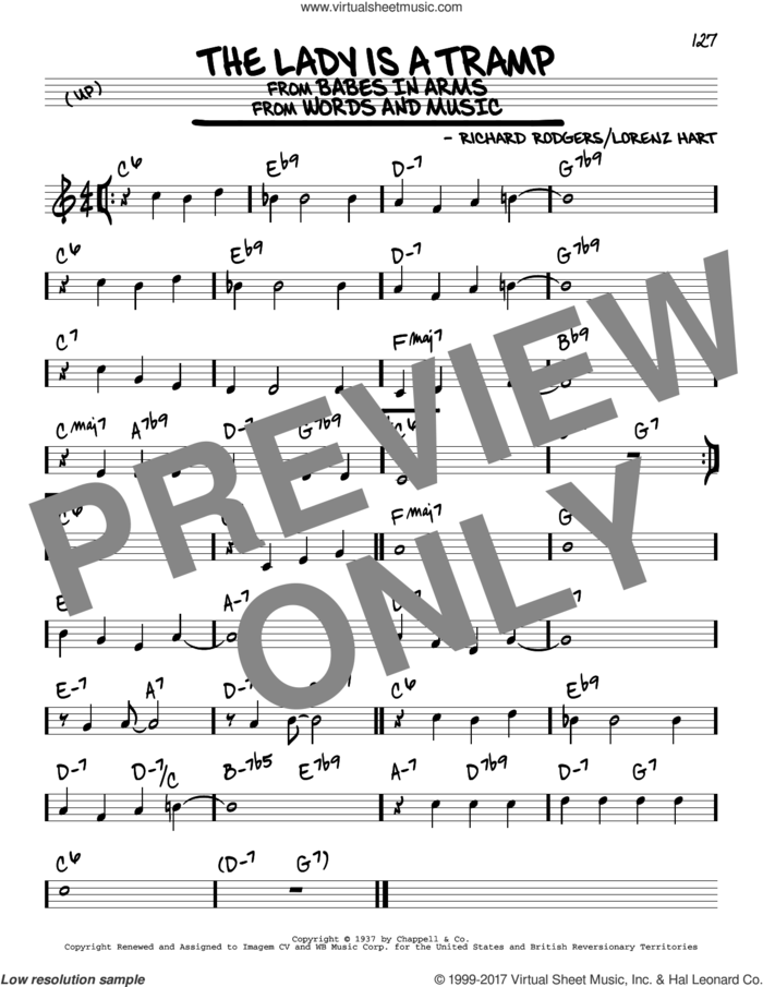The Lady Is A Tramp sheet music for voice and other instruments (real book) by Rodgers & Hart, Lorenz Hart and Richard Rodgers, intermediate skill level