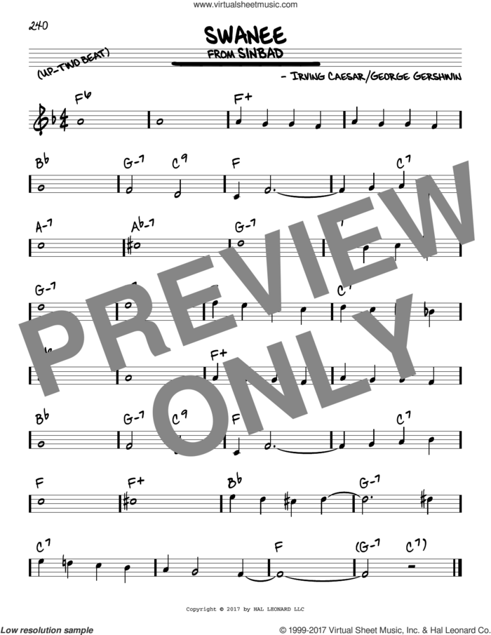 Swanee sheet music for voice and other instruments (real book) by George Gershwin and Irving Caesar, intermediate skill level