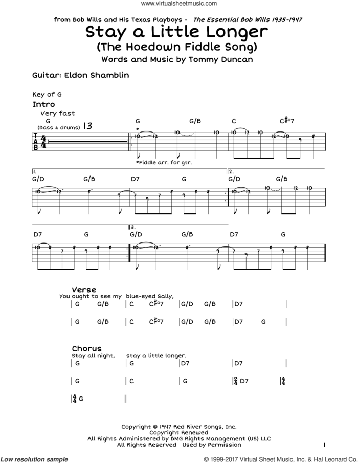 Stay A Little Longer (The Hoedown Fiddle Song) sheet music for guitar solo (lead sheet) by Bob Wills and Tommy Duncan, intermediate guitar (lead sheet)