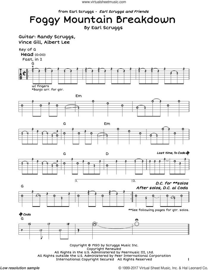 Foggy Mountain Breakdown sheet music for guitar solo (lead sheet) by Lester Flatt & Earl Scruggs and Earl Scruggs, intermediate guitar (lead sheet)