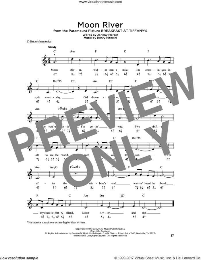 Moon River sheet music for harmonica solo by Johnny Mercer, Andy Williams and Henry Mancini, intermediate skill level