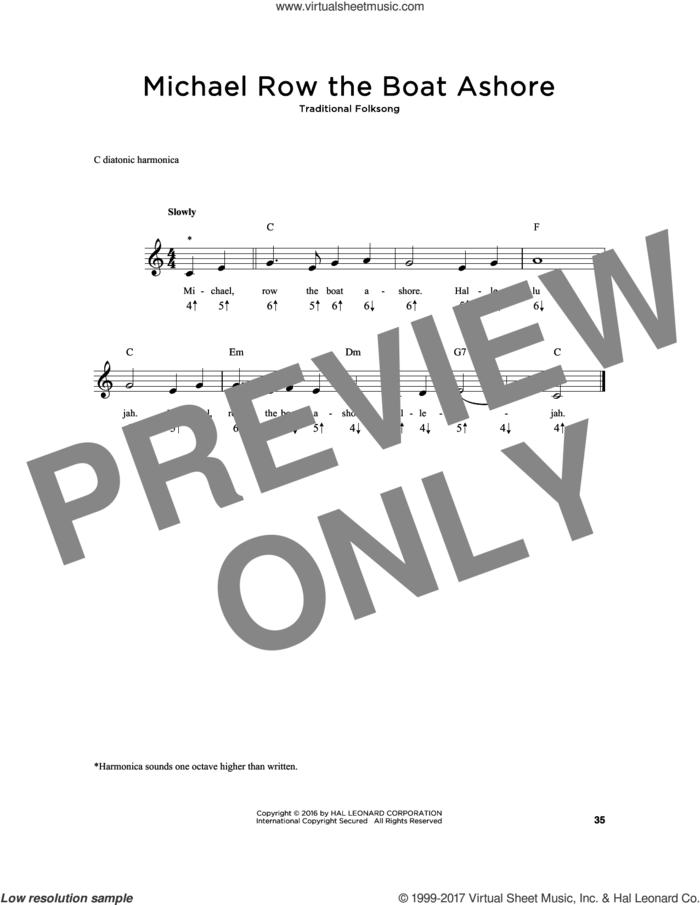 Michael Row The Boat Ashore sheet music for harmonica solo, intermediate skill level