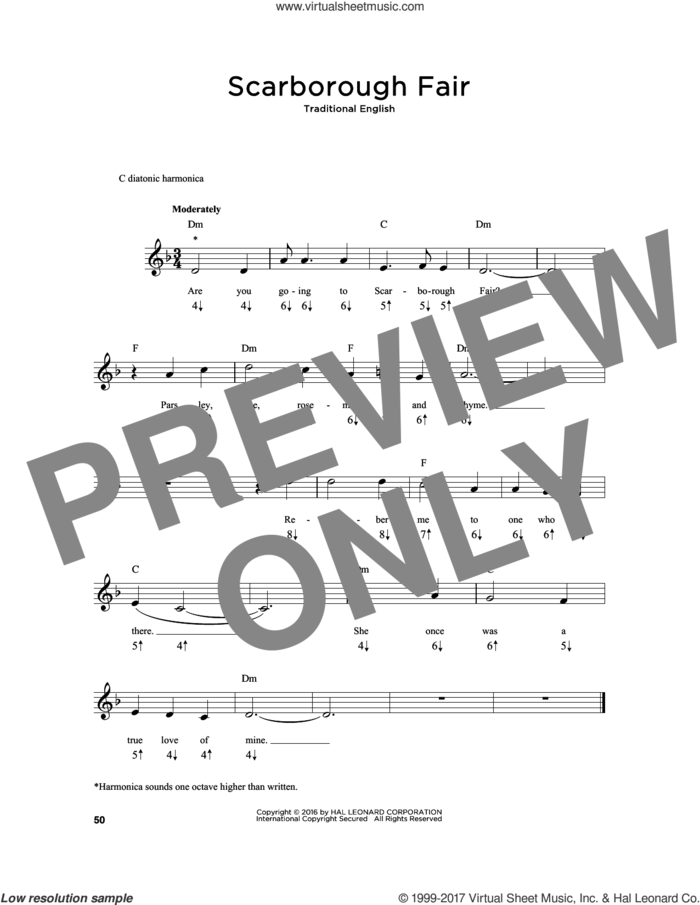 Scarborough Fair sheet music for harmonica solo, intermediate skill level