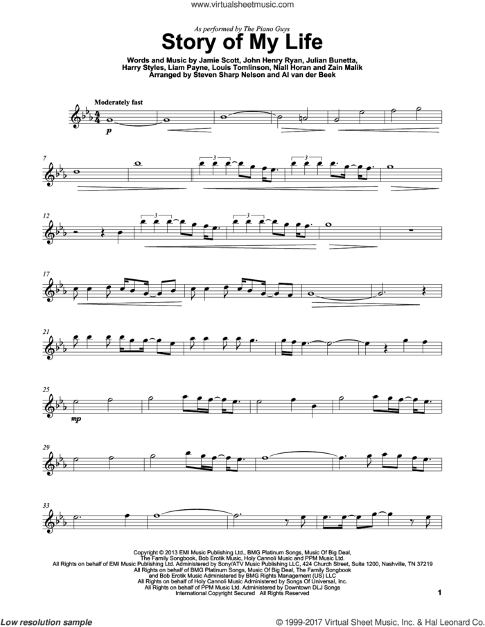 Story Of My Life sheet music for violin solo by The Piano Guys, One Direction, Harry Styles, Jamie Scott, John Henry Ryan, Julian Bunetta, Liam Payne, Louis Tomlinson, Niall Horan and Zain Malik, intermediate skill level