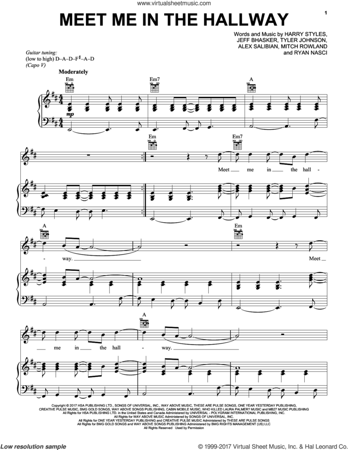Meet Me In The Hallway sheet music for voice, piano or guitar by Harry Styles, Alex Salibian, Jeff Bhasker, Mitch Rowland, Ryan Nasci and Tyler Johnson, intermediate skill level