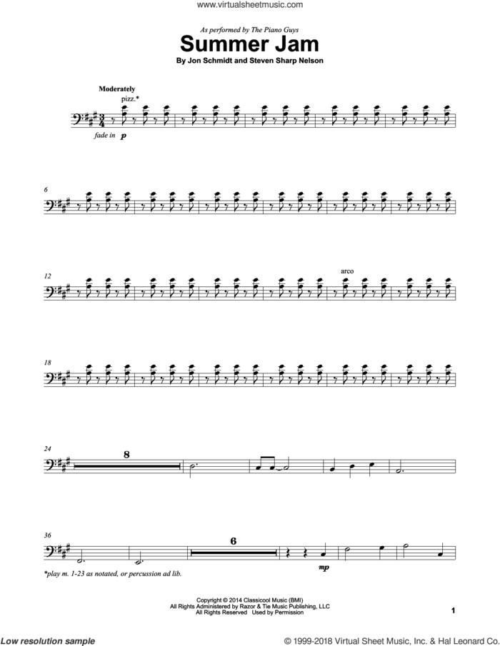 Summer Jam sheet music for cello solo by The Piano Guys, Jon Schmidt and Steven Sharp Nelson, intermediate skill level