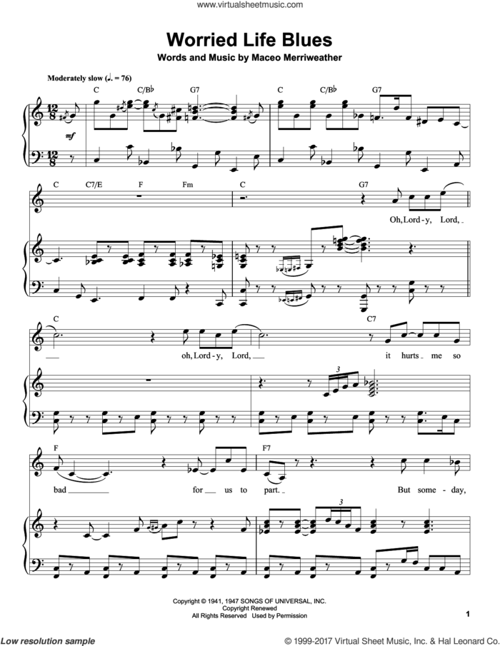 Worried Life Blues sheet music for piano solo (transcription) by Eric Clapton and Maceo Merriweather, intermediate piano (transcription)