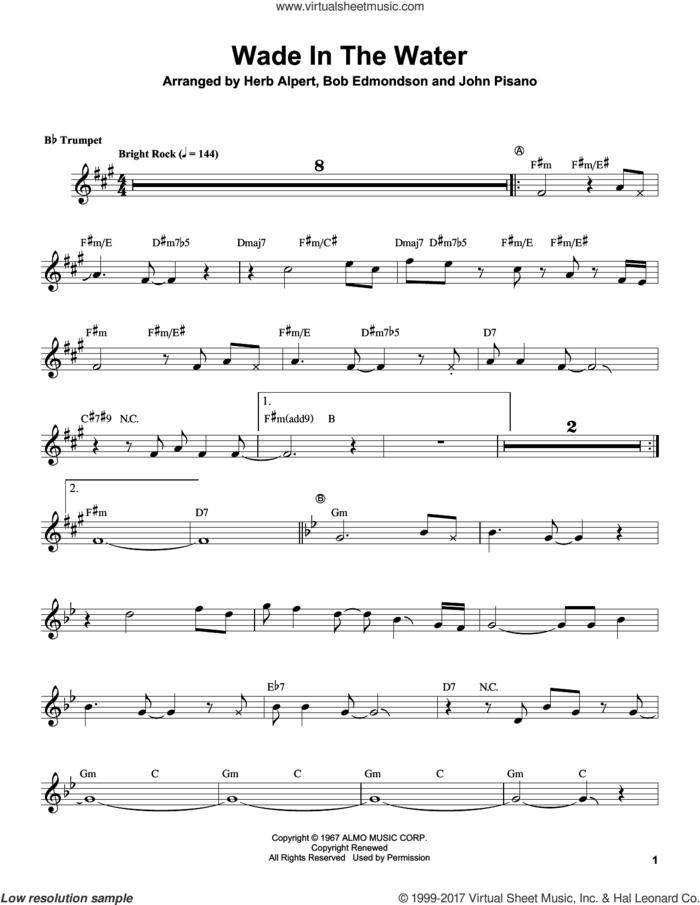 Wade In The Water sheet music for trumpet solo (transcription) by Herb Alpert and Bob Edmondson (arr.), intermediate trumpet (transcription)