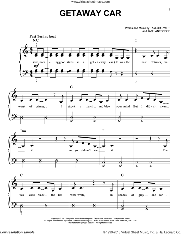 Getaway Car sheet music for piano solo by Taylor Swift and Jack Antonoff, easy skill level