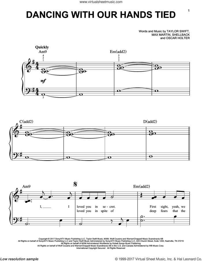 Dancing With Our Hands Tied sheet music for piano solo by Taylor Swift, Max Martin, Oscar Holter and Shellback, easy skill level