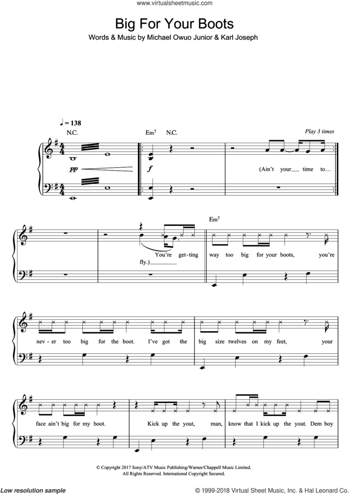 Big For Your Boots sheet music for piano solo by Stormzy, Karl Joseph and Michael Owuo Junior, easy skill level