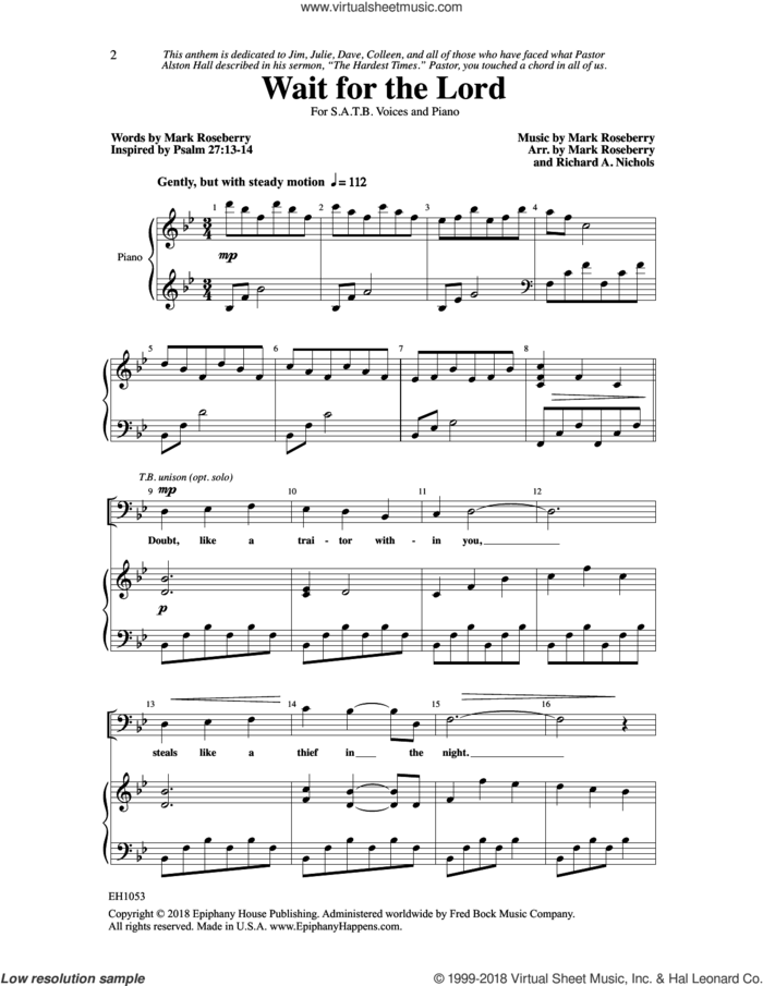 Wait for the Lord sheet music for choir (SATB: soprano, alto, tenor, bass) by Mark Roseberry and Richard A. Nichols, intermediate skill level