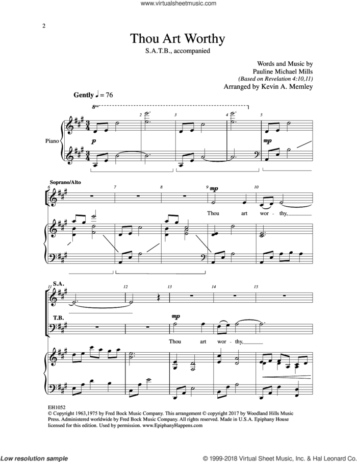 Thou Art Worthy sheet music for choir (SATB: soprano, alto, tenor, bass) by Kevin A. Memley and Pauline Michael Mills, intermediate skill level